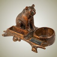 Antique Hand Carved Black Forest Bear, A Superb Smoker's Stand, Match Holder