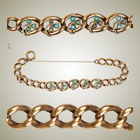 Antique French Bracelet, Seed Pearls and Turquoise set in Heavy Chain Rolled Gold, Edwardian Era