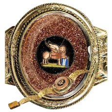 Antique Victorian Micro Mosaic Bracelet, Lion, Goldstone, Rolled Gold & Engraved Band