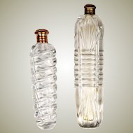 Pair of Two (2) Antique French Perfume flasks, Bottles, 18k Gold Cap, c.1800