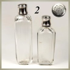 Pair (2) Antique French Sterling Silver & Cut Glass Flasks, Liqueur or Cologne, Monogram