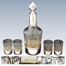 Elegant Antique French Sterling Silver, Cut & Intaglio Glass 5pc Liqueur Set, Decanter & 4 Cups