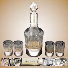 Elegant Antique French Sterling Silver, Cut & Intaglio Glass 5pc Liqueur Set, Decanter & 4 Cups