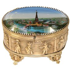 "Antique French Eglomise & Gilt Ormolu 3.5"" Souvenir Casket: 1889 World Expo, Eiffel Tower"