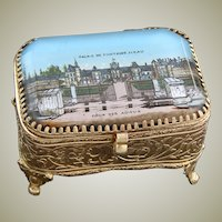 Antique French Gilt Ormolu Jewelry Box, Ring Casket, Eglomise Souvenir: Palais De Fontainebleau