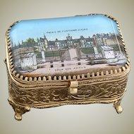 Antique French Gilt Ormolu Jewelry Box, Ring Casket, Eglomise Souvenir: Palais De Fontainebleau
