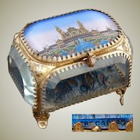 "Antique French ""Eglomise"" Souvenir Jewel Casket, Ormolu & Thick Beveled Glass, ""Trocadero"""