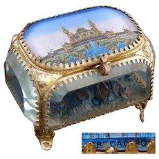 "Antique French ""Eglomise"" Souvenir Jewel Casket, Ormolu & Thick Beveled Glass, ""Trocadero"""