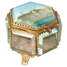Antique French Eglomise Souvenir Jewelry Casket, Hexagonal Shape: Marseille, Chateau d'If