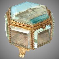 Antique French Eglomise Souvenir Jewelry Casket, Hexagonal Shape: Marseille, Chateau d'If
