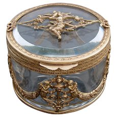 Antique French Belle Epoque Era Gilt Bronze & Glass Jewelry or Vanity Casket, Box: Empire Style Cherubs & Garland