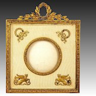 "Antique French Empire Photo Frame, Door Bronze Appliques, Sphinx, Wreath, 6"" Tall"