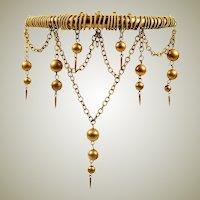 "Napoleon III Antique French Napoleon III Tiara, Ornamental Hair Comb with Bead Dangles, 4.5"" x 4.5"""