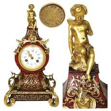 Superb Antique French Boulle Mantel Clock, Serpentine Shape, Samuel Marti Movement