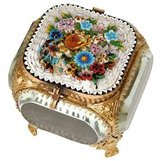 Antique Micro Mosaic, Micromosaic Jewelry Box, Casket, Thick Beveled Glass  c.1890