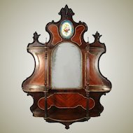 "HUGE 35"" Antique French Napoleon III Wall Shelf, Kingwood & Gilt Ormolu with Sevres Style Porcelain Medallion"