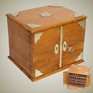 Fine Antique Edwardian Era Oak Cigar Presenter Box, Chest with White Metal Accents, Four Trays