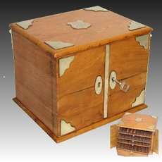 Fine Antique Edwardian Era Oak Cigar Presenter Box, Chest with White Metal Accents, Four Trays
