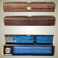 "Antique French Scribe's Box, 10.5"" Leather Writer's Inkwell & Pen Case for Traveler, c.1800s"