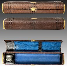 """Antique French Scribe's Box, 10.5"""" Leather Writer's Inkwell & Pen Case for Traveler, c.1800s"""