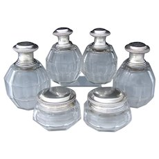 Vintage Belgian .900 Sterling Silver & Cut Glass or Crystal 6pc Vanity Bottle Set, 4 Perfumes or Colognes, 2 Jars