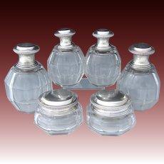 Vintage Belgian .900 Sterling Silver & Cut Glass or Crystal 6pc Vanity Bottle Set, 4 Perfumes or Colognes, 2 Jars
