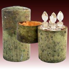 "Antique c.1780-1810 Shagreen 6"" Scent Caddy, 4 Perfume Bottles, Flasks, 18k Gold Monogram"