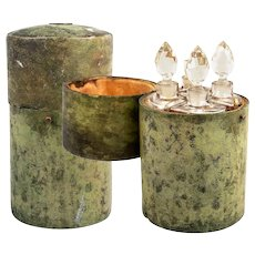 "Antique c.1780-1810 Shagreen 6"" Scent Caddy, 4 Perfume Bottles, Flasks, 18k Gold Monogram"