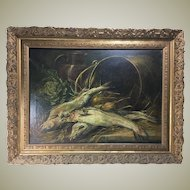 "Huge Antique French Oil Painting in 33"" x 25.25"" Heavy Antique Frame, Nature Morte Still Life with Fish"