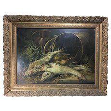 "Antique French Oil Painting in 33"" x 25.25"" Heavy Antique Frame, Nature Morte Still Life"