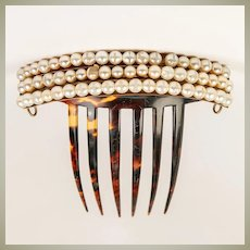 Gorgeous Antique French Tiara Ornamental Hair Comb, 3 Rows Faux Pearls in 5-6mm Size, Napoleon III, Victorian