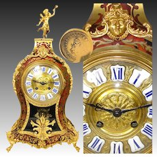 """Superb Large Antique French Napoleon III Boulle Inlay 18"""" Mantel Clock"""
