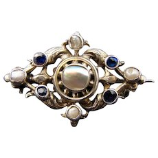 Petite Antique French (?) Sterling Silver, Pearl & Sapphire Brooch