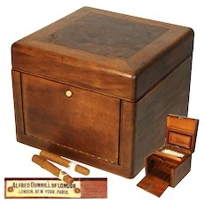 "Vintage Alfred Dunhill of London 9.5"" Mahogany & Burled Walnut Pipe Tobacco Humidor, Box"
