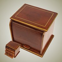 Vintage Mahogany & Brass Inlay Roll Top Style Cigar Presenter Box, Chest, 4 Slide-Out Trays