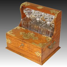 "Antique Edwardian Era Oak & Brass 14"" Liquor Tantalus, 3 Lg Decanters"