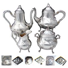 Stunning Antique French Sterling Silver 4pc Coffee & Tea Set, Ornate Louis XV or Rococo Style