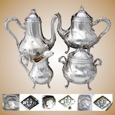 Gorgeous Antique French Sterling Silver 4pc Coffee & Tea Set, Ornate Louis XV or Rococo Style