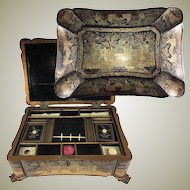 BEST ever! Antique Victorian Era Asian Chinoise, Japonaise Hand Painted Lacquer Sewing Box, Chest, Dragon Feet & Fine Shape