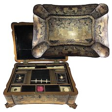 Antique Victorian Era Asian Chinoise HP Lacquer Sewing Box, Chest, Dragon Feet & Fine Shape