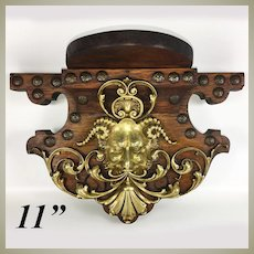 Superb Antique Bracket or Clock Shelf, Bronze Cast Bacchus, Neo-Renaissance Figural, Oak, 11""