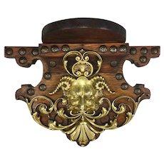 """Superb Antique Bracket or Clock Shelf, Bronze Cast Bacchus, Neo-Renaissance Figural, Oak, 11"""""""