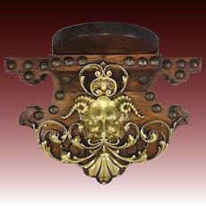 """Unique Antique Bracket or Clock Shelf, Bronze Cast Bacchus, Neo-Renaissance Figural, Oak, 11"""""""