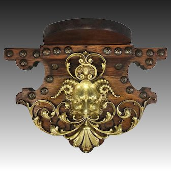 Unique Antique Bracket or Clock Shelf, Bronze Cast Bacchus, Neo-Renaissance Figural, Oak, 11""