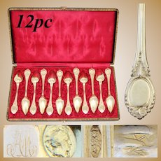 Elegant Antique French 18k Gold on Silver 12pc Teaspoon Set, in Box