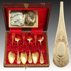 Antique French 18k Gold on Silver Vermeil 6pc Coffee or Teaspoon Set,