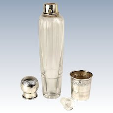 Antique French Sterling Silver Liqueur Flask with Shot Cup on Bottom, c.1910