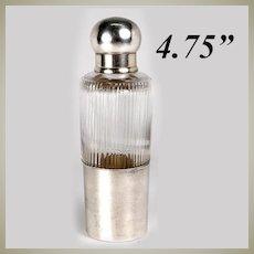 Fine Antique Liqueur Flask, French Sterling Silver Cap & Jigger Cup, c.1910 Art Deco