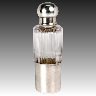 Fine Antique Liqueur Flask, French Sterling Silver Cap & Jigger Cup, c.1910 Art Deco
