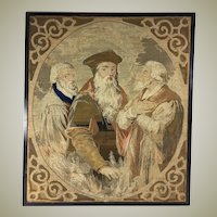 "Antique Victorian Era Needlepoint Tapestry Panel, The Philosophers, No Frame 23"" x 20"""